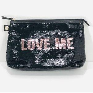 Victoria's Secret Black Pink Reversible Sequin Bag